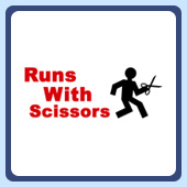 humorous clumsy silly runs with scissors funny t-shirts